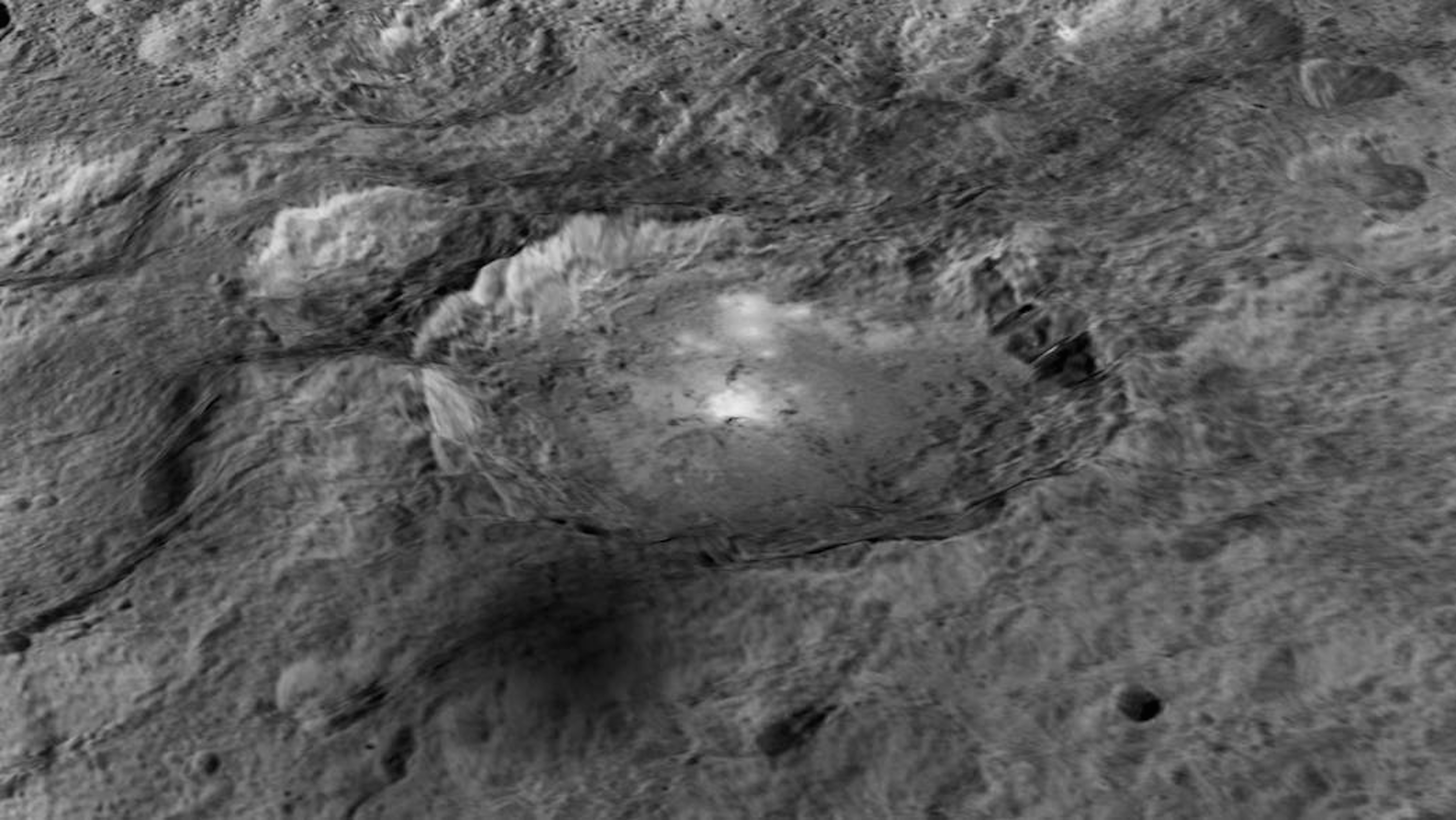 Ceres bright spot in in a crater named Occator, which is about 4 km deep