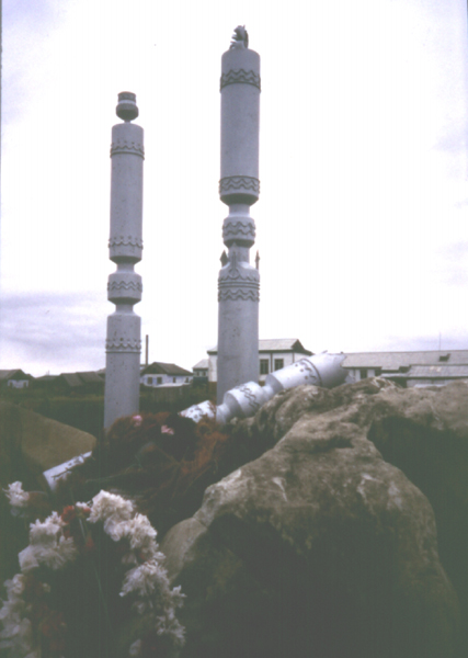 Kyusyur war memorial of 3 horses hitching posts one symbolically broken, photo 1993 by Heather Hobden