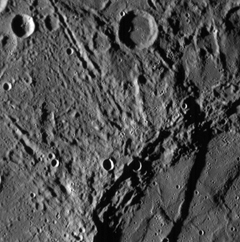 close picture January 2008 showing scarps and craters