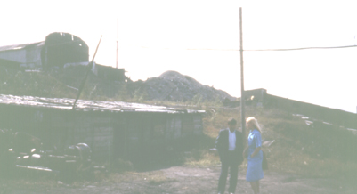 Drift coal mine at Sangar, photo by Heather Hobden 1993 - the woman is talking to the director of the mine