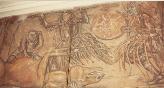 fresco in museum Irkutsk showing Buriat Mongol sacrifice - photo by Heather Hobden 1983