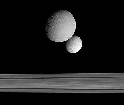 Dione, Tethys and Saturn's rings from Cassini
