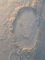 happy face in Martian crater March 1999 picture from Nasa