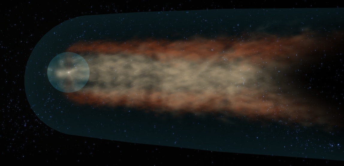 image of solar system's comet-like tail