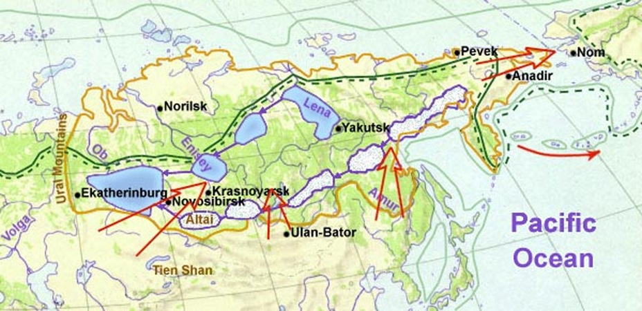 map Siberia in last ice age
