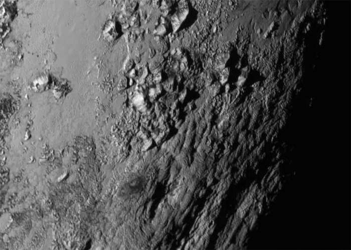 icy mountains on Pluto