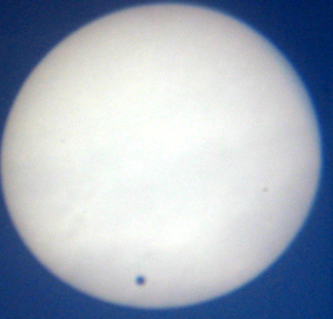 transit of Venus taken by Heather Hobden on 8th June 2004 7.30 am from back garden